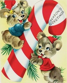 Bears with candy cane