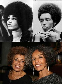Angela Davis and her sister, Fania Davis Jordan (then and now)