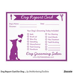 "Dog Report Card for Dog Groomers 4.5"" X 5.6"" Flyer"