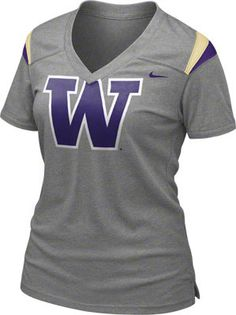 Washington Huskies Women's Dark Grey Heather Nike Football Replica T-Shirt #washington #huskies #uw