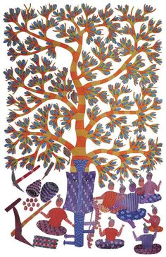 An illustration from Signature; a collection of patterns by Gond artists.