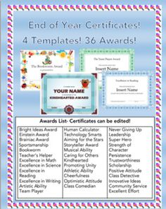 """This file contains 4 different award templates in 4 different power point presentations. There are 36 different awards.Names of students, teachers, and dates can be edited before printing. You can add each individual name, or delete the """"insert name"""" section and write in each name by hand if you prefer."""