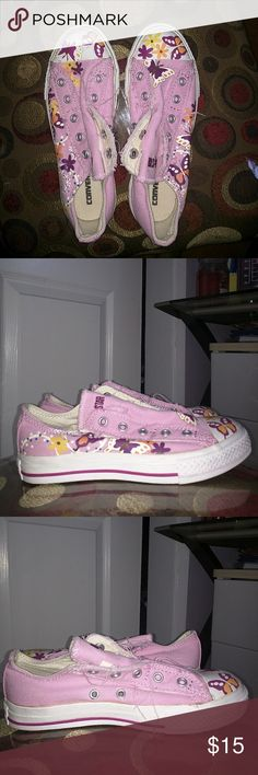 Pink Converse Shoes floral butterfly pattern  new without tag Converse Shoes Sneakers