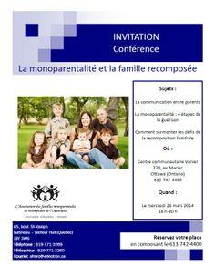 Participez à une conférence, le 26 mars au Centre des services communautaires Vanier, portant sur le sujet de la monoparentalité et de la famille recomposée.  Réservez votre place en composant le 613-742-4400!