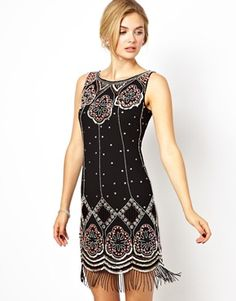 Image 1 ofFrock and Frill Embellished Shift Dress with Tassel Detail