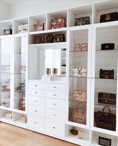 Custom Closets Greater New York This jaw-dropping bag closet was created for beauty influencer, Amra Olevic. The storage designed by California Closets New York designer , Allegra Pennisi entails a perfect boutique display and offers a ready-to-use option Walk In Closet Design, Bedroom Closet Design, Closet Designs, Bedroom Decor, 1920s Bedroom, Bedroom Wall, Bag Closet, Bed In Closet, Dressing Room Closet
