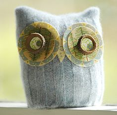plush owl made from thrift sweater : )