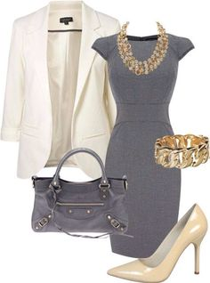 Gray and gold classic outfit | You can find this at => http://feedproxy.google.com/~r/amazingoutfits/~3/czWmfe5ywPw/photo.php