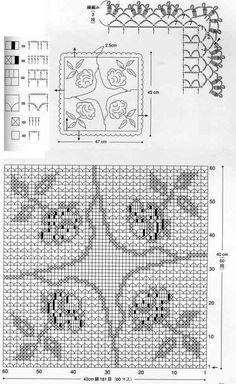 Crochet Patterns Filet, Crochet Earrings Pattern, Crochet Diagram, Crochet Squares, Crochet Motif, Crochet Doilies, Knit Crochet, Thread Crochet, Crochet Stitches