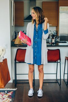 denim dress and cardigan