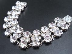 Clear Rhinestone Bracelet 3-Row Link Sparkling Vintage (35.00 USD) by RenaissanceFair