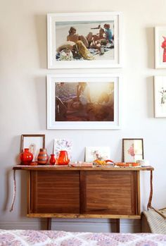 A Lovely Lark: Displaying Family Photos--love the white mat and white frame look