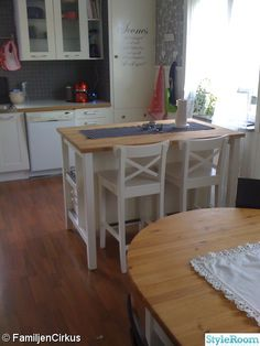 Stenstrop kitchen island, showing the side where you put the chairs.