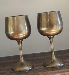 Brass Goblets / Vintage Brass Cups by LeBrunDesignsInc on Etsy