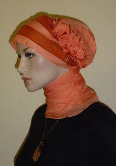 Orange Elegant Chiffon Hijab Turban Chemo by ElegantHijabscarf, $20.00