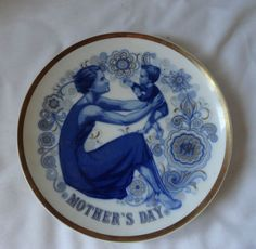 Vintage 1971 Blue Mothers Day Collector Plate From Santa Claire Porcelain