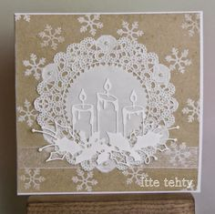 Itte tehty: Kakkupaperi ja kynttilät Christmas Poems, Christmas Cards To Make, Xmas Cards, Diy Cards, Holiday Cards, Christmas Holidays, Christmas Crafts, Card Making Inspiration, Christmas Inspiration