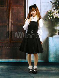 #Milanoo.com Ltd          #Lolita Jumper Skirt      #Cotton #Black #Buttons #Cosplay #Lolita #Dress     Cotton Black Buttons Cosplay Lolita Dress                                     http://www.snaproduct.com/product.aspx?PID=5685444