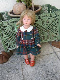 Kaethe-Kruse-Schildkroet-Puppe-Tortulon-50er-Jahre-40cm-Originalkleid-u-Schuhe