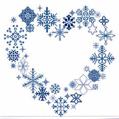 SALE - only: $14.55!    This design is another way that you can show how much you love snow.  The heart is created with over 20 unique snowflake designs.   The model was stitched on 28-count white Cashel Linen (3281-100).  The blue snowflakes were stitched with DMC floss