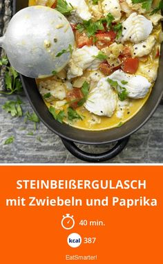 Steinbeißergulasch - mit Zwiebeln und Paprika - smarter - Kalorien: 387 kcal - Zeit: 40 Min. | eatsmarter.de