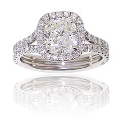 Cushion Cut Diamond Ring! Would be perfect in rose or yellow gold!