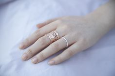 Cyclical Industry | Beautiful Lace Ring, Bubble Ring Rose Gold, Sterling Silver Mix and Match