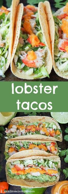 Lobster tacos make such a delicious quick meal. They are light but filling, and a great way to make the slight indulgence of lobster go further. Here served with a simple Brussels sprout slaw, guacamole and mango habanero sauce. #lobster #taco #CincodeMayo