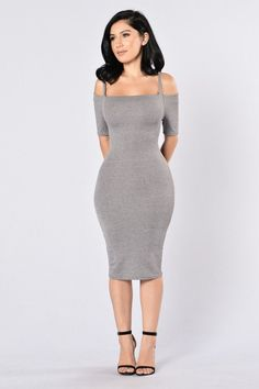 - Available in Grey - Off the Shoulder - Midi Length - Ribbed - 65% Polyester, 32% Rayon, 3% Spandex