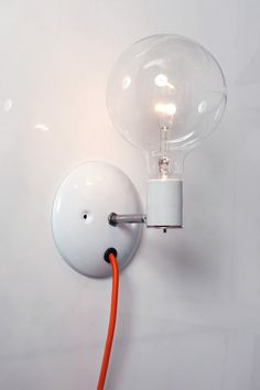 Industrial Wall Sconce Bare Bulb Light Plug In by IndLights