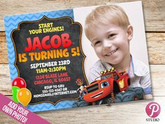 Personalized Blaze and the monster machines invitations