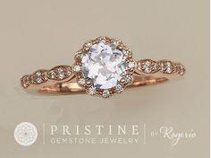 LAVENDER SAPPHIRE ENGAGEMENT RING ROSE GOLD DIAMOND HALO FLOWER DESIGN WEDDING RING ANNIVERSARY RING