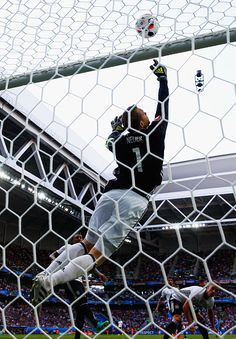 #EURO2016 Manuel Neuer of Germany tips the ball over the bar from Juraj Kucka of Slovakia during the UEFA EURO 2016 round of 16 match between Germany and...