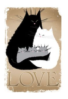 Carte de voeux chat carte A6 LOVE chat amoureux par MADOLDCATLADY