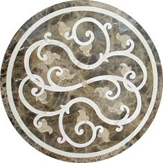 Round Marble Water-Jet Medallion Colors: Emperador Light, Emperador Dark, and Crema Marfil Finish: Polished Thickness: with Honeycomb Aluminum Backing Marble Mosaic, Marble Floor, Marble Stairs, Floor Patterns, Tile Patterns, Floor Murals, Tile Wallpaper, Marble Pattern, Stone Flooring