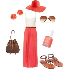 Oh, How I would love a maxi for short girls.       Coral, created by courtney-brooke on Polyvore.