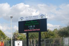 New scoreboard for swim meets and events at the Fort Myers Aquatic Center in Fort Myers, FL