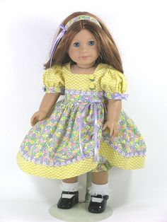 18 inch Handmade American Girl Doll Dress Floral Yellow Tulips - Exclusively Linda Doll Clothes