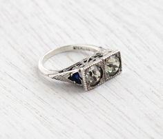 Vintage Art Deco Rhinestone & Blue Enamel Ring - 1930s Size 4 3/4 Sterling Silver Jewelry / Two Stone Faux Diamonds