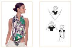 Ce nouage «Cow-boy loose» est réalisable avec un carré : 70x70 cm • 90x90 cm. Jouez avec votre carré Hermès avec l'application Silk Knots! #Hermes #Silk #SilkKnots