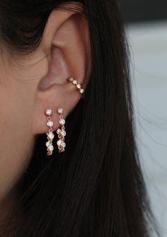 14kt gold and diamond bezel chain earring – Luna Skye