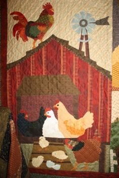 Country Threads :: Animal Quilt Patterns :: Home to Roost Wall Quilt Pattern from Back on the Farm