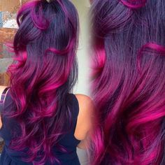 The ombre hair trend has been seducing for some seasons now. More discreet than tie and dye, less classic than sweeping, this new technique of hair. Pretty Hair Color, Beautiful Hair Color, Hair Color Purple, Hair Dye Colors, Pink Hair, Best Ombre Hair, Brown Ombre Hair, Grunge Hair, Hair Today