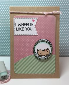 "Lawn Fawn ""Wheelie Like You"" with Lawn Fawn ""Let's Polka, Mon Amie"" Lawn Fawn Journal card die cut with Vellum overlay. Copics for color. #lawnfawn"
