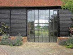 Crittall doors in modern barn conversion Barn Windows, Metal Windows, Aluminium Windows, Windows And Doors, Barn Doors, Crittal Doors, Modern Conservatory, Crittall, Barn Renovation