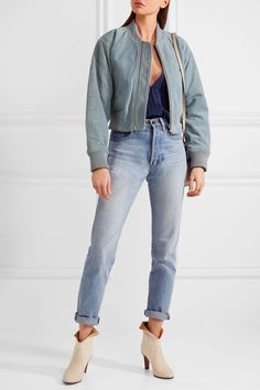 Sky-blue suede Zip fastening through front 100% suede (Cow); lining: 100% viscose Specialist clean Designer color: Pearl Gray Imported