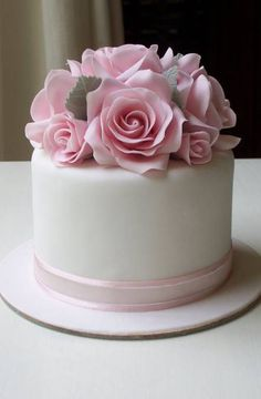 Wedding cakes simple small pink roses 54 ideas