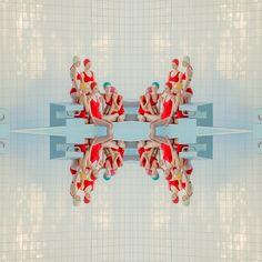 2019 photograph part of the Swimming Pool series of Slovenian photographer Maria Svarbova - perfectly sterile geometric photography - pastels and red - soothing symmetry Wes Anderson, Robert Mapplethorpe, Erwin Olaf, Photo Portrait, Colossal Art, Foto Art, Graphic, Fine Art Photography, Geometric Photography