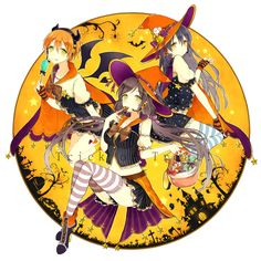 Halloween anime girls Love Live! witches bats candy trick or treat sweet