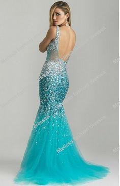 2014 hottest new arrival sheer fabric heavy beaded blue mermaid prom dresses-in Prom Dresses from Apparel & Accessories on Aliexpress.com
